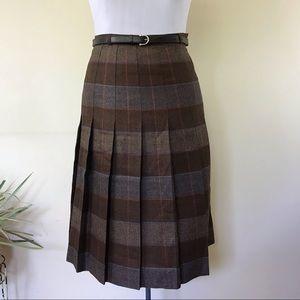 Vintage Moretti Italian Wool Plaid Midi Skirt